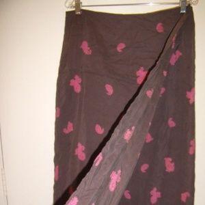 Vintage Wrap Silk Brown Fuchsia Fun Skirt